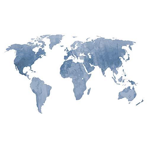 decalmile Adesivo Murale Mappa Mondo Adesivi da Parete Bambini Decorazioni Parete Stickers Murali per Soggiorno Camera da Letto Ufficio (Blu, 131 x 75 cm)