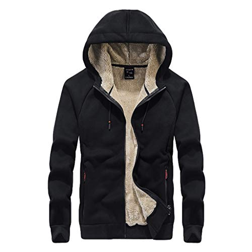 Great Deal! jin&Co Men's Fleece Jacket Winter with Hood Plus Size Thickened Slim Hoodies Outercoat...