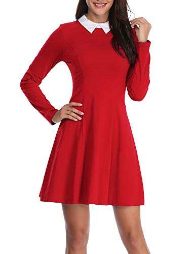FENSACE Willy Wonka Dress Long Sleeve Fit and Flare Skater Sabrina Costume Red