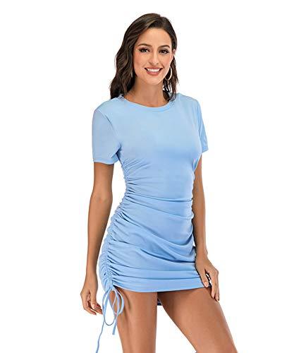 SLYZ Verano De Las Mujeres Europeas Y Americanas Nuevo Vestido Sexy De Talla Grande con Cordón Plisado Cadera Delgada Vestido De Mujer