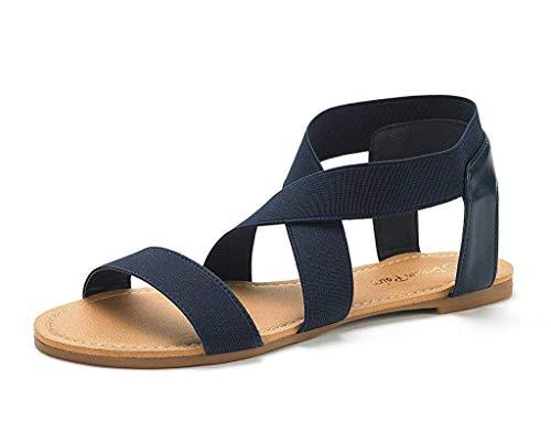DREAM PAIRS Sandals for Women Elatica-6 Navy Elastic Ankle Strap Flat Sandals - 6.5 M US