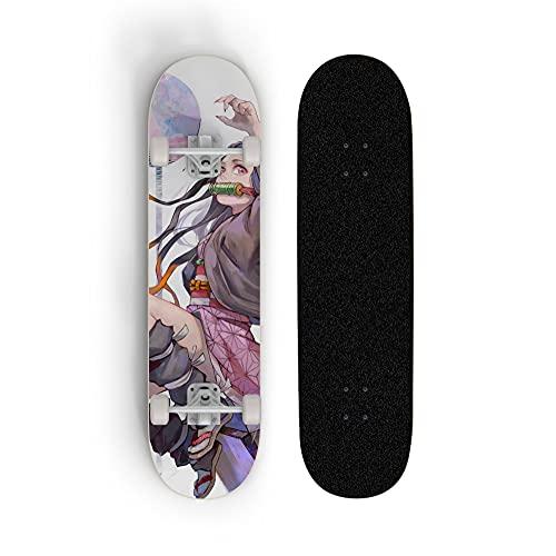 ZQHUAA Skateboard for Demon Slayer: Kamado Nezuko, Scooter de Cuatro Ruedas de Doble inclinación, patineta for Principiantes, Deportes Extrema al Aire Libre, Regalo de niño y Adolescente