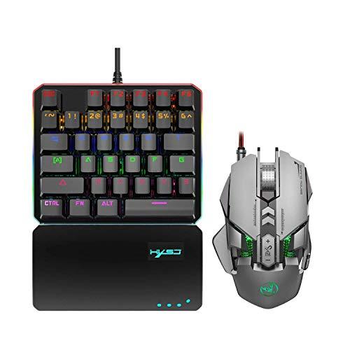 TYXL Keyboard Uno DIO Teclado For Juegos Mecánicos Y Programable Combo De Ratón, Teclado USB con Cable De Juego Y Retroiluminación LED Ratón For LOL/PUBG/Wow/Dota/OW (Color : Gray)