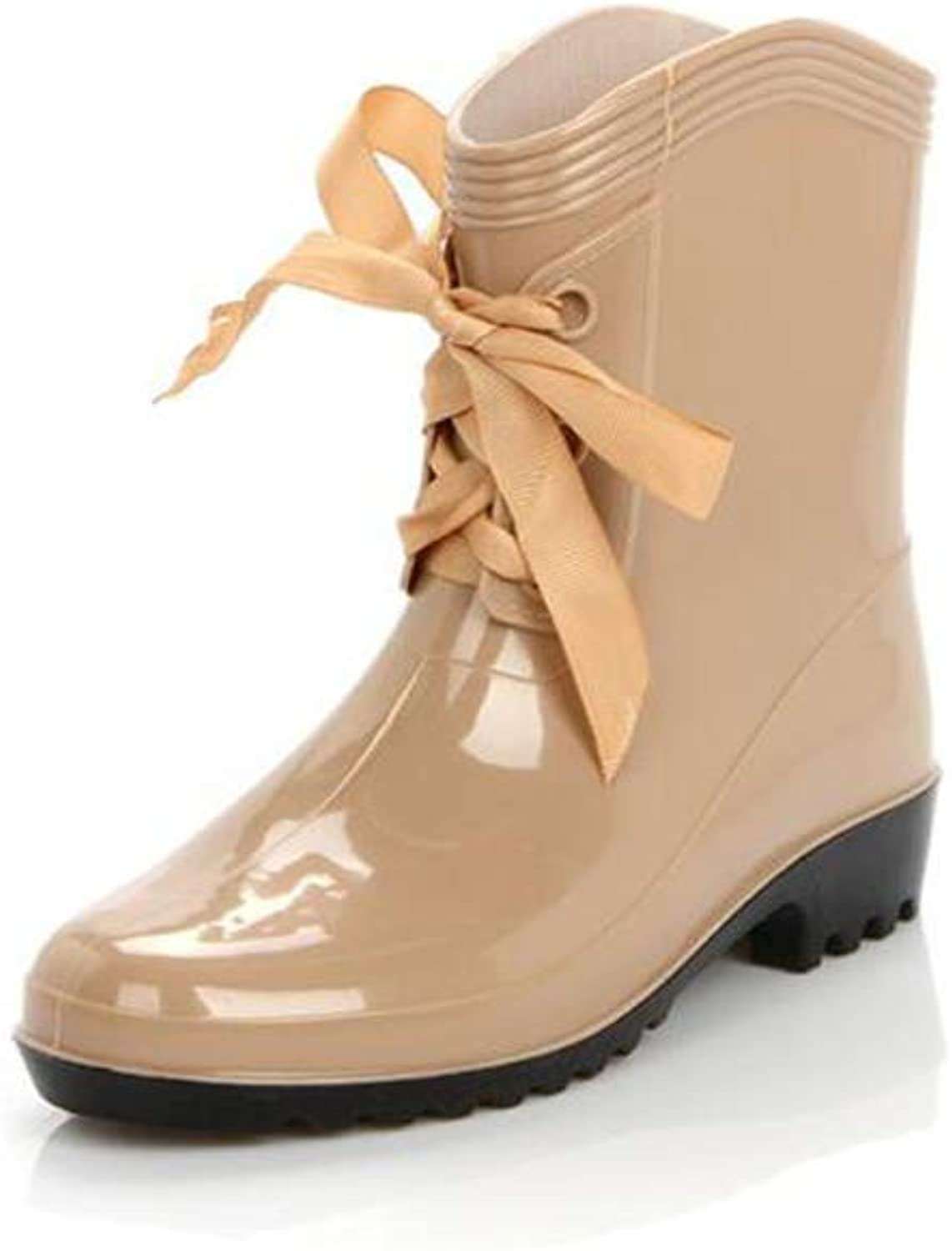 Fancyww Woman's Ribbon Bow Non-Slip Fully Enclosed Rain Boots