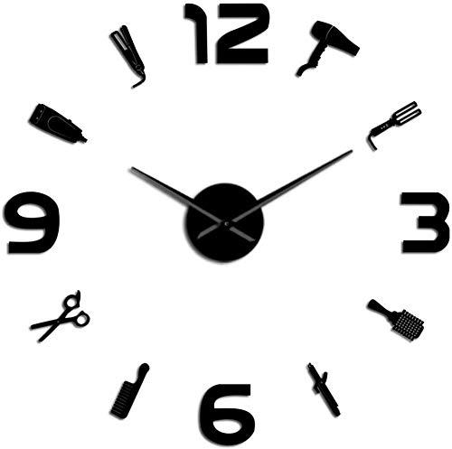 LIUXU Peluquería DIY Reloj de Pared Espejo Superficie Barbero Caja de Herramientas Decoración Reloj de Pared Peluquería Regalo Salón de Belleza Arte de la Pared