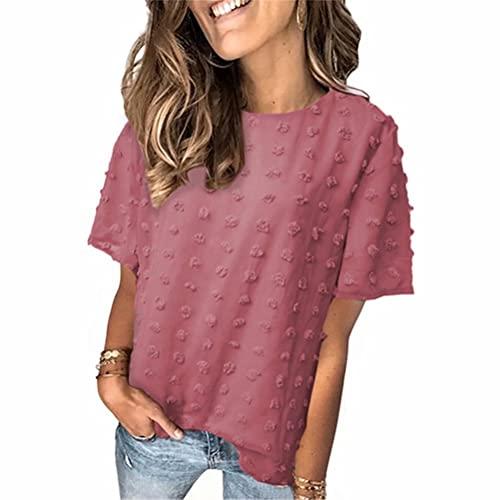 ZFQQ Summer Ladies Pure Color Gasa Jacquard Bola de Pelo Doble Manga Corta Camiseta de Moda Top