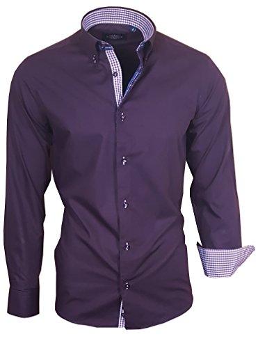 Louis Binder de Luxe 823 Herren Hemd modern fit (4XL Kragenw 50, Brustbr 69, Taillenw 69, dunkel Lila)