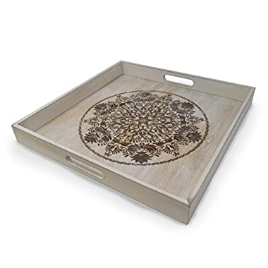 gbHome GH-6793 Decorative Wooden Serving Tray With Engraved Art, Ottoman Breakfast Tray For Carrying Drinks Letters Mail, 15.75 x 15.75 in, Display Piece Rustic Antique Distressed Wood Look