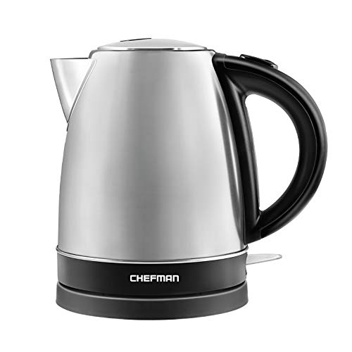 Chefman Stainless Steel Electric Kettle with BPA Free Interior Quick Boil, Swivel Base for Cordless Pouring or Filling and Auto Shutoff – 1.7 Liter 1500 Watts 120V (Silver)