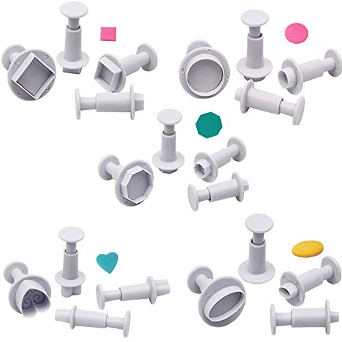 VONUOBEY 20 cortadores de fondant cuadrados/ovalados/circulares/polígonos/corazones/cortadores de galletas de azúcar para decoración de tartas