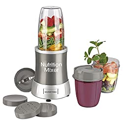 GOURMETmaxx 04505 Nutrition Mixer | inkl. Rezeptheft & To-Go Becher | Ideal für Smoothies & Cocktails | 7 Funktionen | 700 Watt | Silber