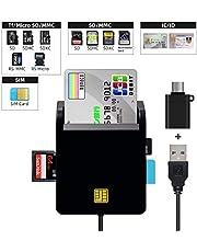 YMJOGGUE 接觸型ICカードリーダーライタ マイナンバー対応 多機能 USB接続(國稅電子申告?納稅システムe-Tax、地方稅電子手続き等)CAC/SD/Micro SD (TF)/SIMスマートカードリーダーにも対応 USB Type C 変換アダプ付け 日本語取扱説明書