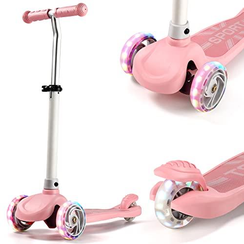 IMMEK Patinete Scooter de Tres Grandes Ruedas para Niña y Niño Más de 2 Años Juguetes y Regalos, Ajustable Altura 3 Luz LED Luces Iluminadas Ruedas Carga Máxima 50 KG (Rosa)
