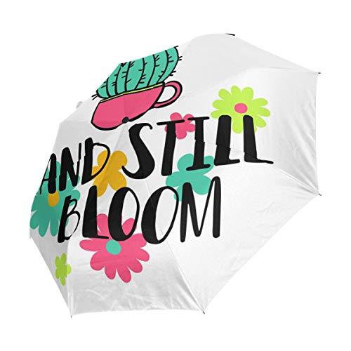 FANTAZIO Fantasio 3-Fach Faltbarer Reise-Regenschirm mit Kaktus-Blüten-Motiv, leicht