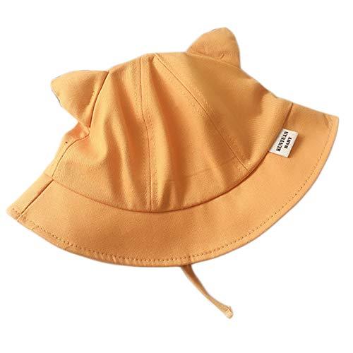 LYDIAMOON Bonnet De Soleil Coton Petite Oreille Couleur Unie Casquette Ajustable Respirante Anti-UV Fine Et Légère pour Garçon Fille,Yellow