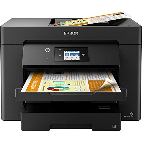 Epson WorkForce WF-7830DTWF 4-in-1 Business Tintenstrahl-Multifunktionsgerät (Drucker Scanner, Kopierer, Fax, WiFi, Ethernet, NFC, Full Duplex, Einzelpatronen, bis DIN A3) schwarz