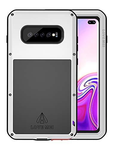 FONREST Completo Funda para Samsung Galaxy S10+, Love Mei 6,4-Pulgada Antichoque Al Aire Libre Híbrido Aluminio Metal Antipolvo Carcasas con Vidrio Templado, Soporte de Carga inalámbrica (Plat