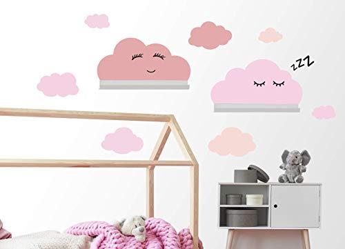 Wolken Wandaufkleber Set selbstklebend passend für IKEA RIBBA/MOSSLANDA Wandregal Bordürgen - Rauhfaser Wandsticker, Tapeten Sticker zum...