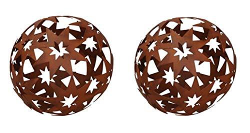 dekorative Stern-Kugel Deko-Kugel Garten-Kugel Metall Rostbraun 14 cm Preis für 2 Stück