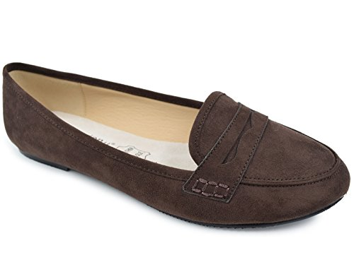 Greatonu Women's Pointed Toe Brown Faux Suede Smoking Loafer Flat Shoes (9 US)