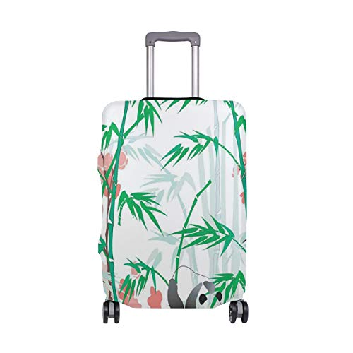 SUHETI Suitcase Cover Luggage Cover (Without Suitcase),Giant Woody Grass Bamboos and Panda Bear in Chinese Tropics Artsy,M(22-24 in)
