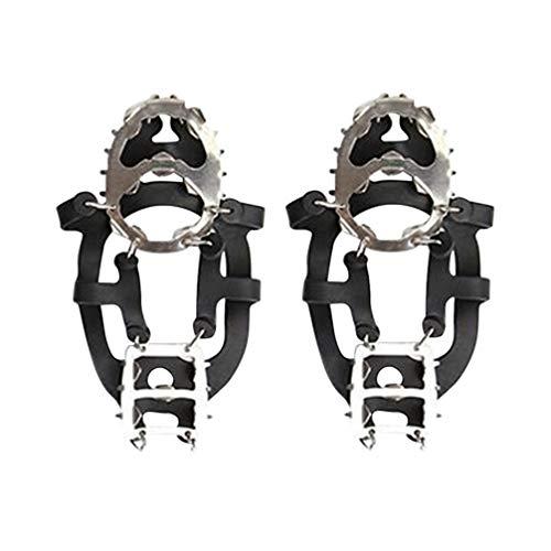 Garneck Tacos de Hielo Crampones Botas Zapatos Mujeres Hombres Niños 18 Clavos Inoxidables Tacos de Tracción Pesca Senderismo Caminar Montañismo Escalada Suministros (Negro L)