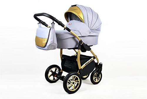 Poussette Combinée Trio landau 3en1 Isofix siège Auto Gold Deluxe by SaintBaby Silver 2en1 sans siège bébé