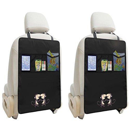 Zuoao 2 Stück Auto-Rückenlehnenschutz ,Rückenlehnen Tasche Trittschutz mit Rücksitz-Organizer,Kinder Rücksitzschoner Kick-Matten-Schutz passend für die meisten den Autositz Schwarz