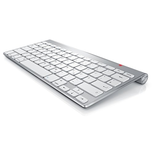 CSL - Wireless Slim Tastatur kabelloses Funk Keyboard 2,4G - Lightweight Design - Multimedia Keys - QWERTZ-Layout Apple Tastaturlayout - kompatibel mit Apple und PC