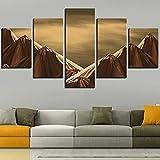 5 piezas de pintura en lienzo de dunas, póster del desierto, imágenes de piedra de montaña, fondos de pantalla de paisaje, pegatina de parachoques marrón-20x30-20x40-20x50cm