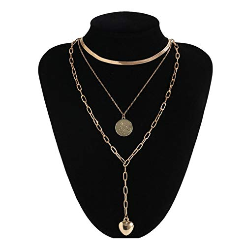 TFGUOqun Fashion Punk necklace collar hip hop big thick chunky chain fashion queen coin pendant necklace ladies jewelry For feminine decoration (Metal Color : Gold Color13)