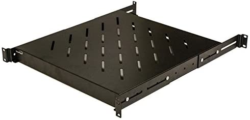 NavePoint 1U 19-Inch Fixed 4-Post Rack Mount Server Shelf with Adjustable Depth from 18-29 Inch Black