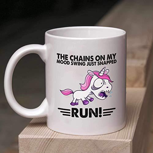 N\A ophia - Regalo de Taza de café con Broche de presión Presente - Taza de The Chains On My Mood Swing Just Snapped Run, Blanco
