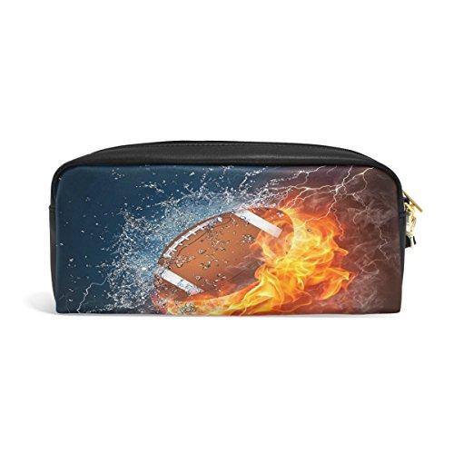 Domoko Federmäppchen/Federmäppchen, Motiv: American Football im Feuer und Wasser, PU-Leder, für Make-up, Kosmetik, Reisen, Schultasche