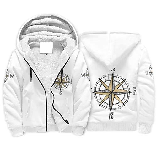 Generic Branded - Sudadera de forro polar con capucha para hombre, con cremallera y cremallera, para exteriores, color blanco
