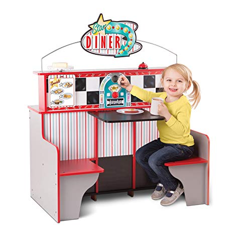 Melissa & Doug Star Diner Restaurant (Wooden Diner Play Kitchen Set, Two Play Spaces in One, 89cm H x 58cm W x 110cm L, Great Gift for Girls and Boys - Best for 3, 4, 5 Year Olds and Up)