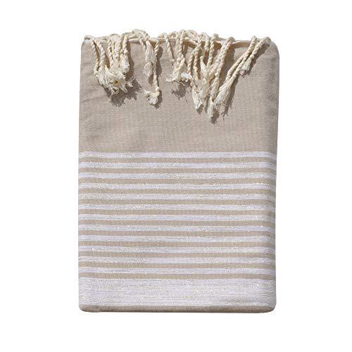 LES POULETTES Handtuch Cotton Große Fouta Hammam oder Strand Beige Farbe Silber Lurex Gestreift 200 x 300cm