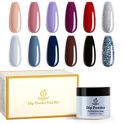 Beetles 12 Colors Dip Powder Nail Kit Starter, Modern Muse Collection Dipping Powder Set Nude Purple Dip Powder Colors Pink Blue Glitter Nail Dip Powder kit Without Base Top Coat Ativator Brush Saver
