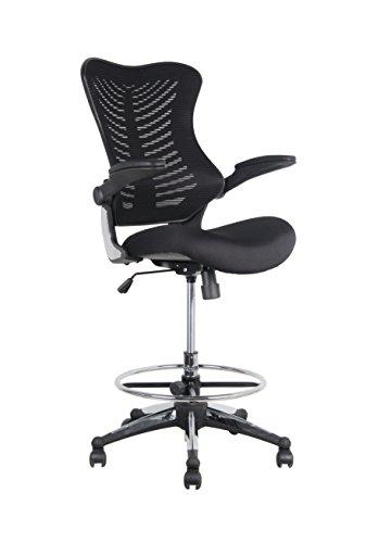 Office Factor Stool Clerk Teller Drafting Chair Reception Black Mesh