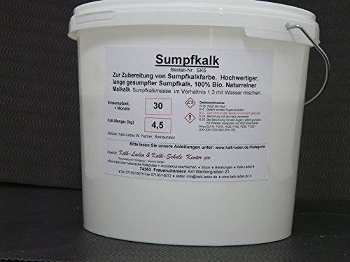 Sumpfkalk/Kalkfarbe/Streichkalk, 100% Bio, allergiefreundlich, pilzhemmend, 4,5 kg für ca. 64 qm