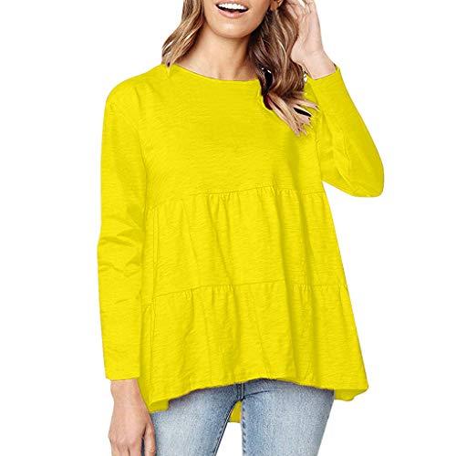Damen casual Tops Hemdbluse Damenbluse Shirtbluse,2019 Neu Lose Plissee Langarm T-Shirt Top Langarm solide lose sexy oansatz mode rüschen bluse top S-3XL