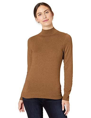 Amazon Essentials Lightweight Mockneck Sweater pullover-sweaters, Camel Heather, US S (EU S - M)