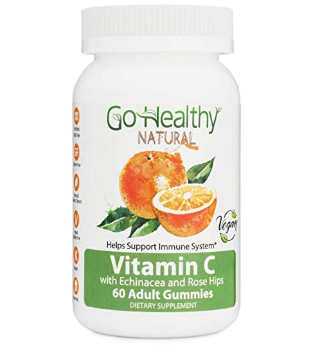 Go Healthy Natural Vitamin C Gummies with Echinacea and Rose Hips, Vegan- Adult, 240 mg Per Serving (60 Count)-30 Servings Gluten Free, Non-GMO, Halal, Kosher