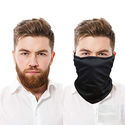 MEB Neck Gaiter Face Mask with filter   ear loop   Balaclava Bandana   Breathable Nano Silver  Filter Pocket  Youth Men Women  running gym  fit S-XXL (Black)