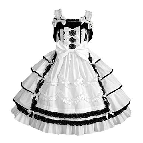 YAYAKI Vintage Abendkleid Damen Elegant Gothic Retro Bow Bankett Rock Spitzenheftung Bequeme Rüschen Ballkleid Lose Große Schaukel Partykleider Große Größen Kleider S-5XL (De.34~48)(Weiß-3,L)