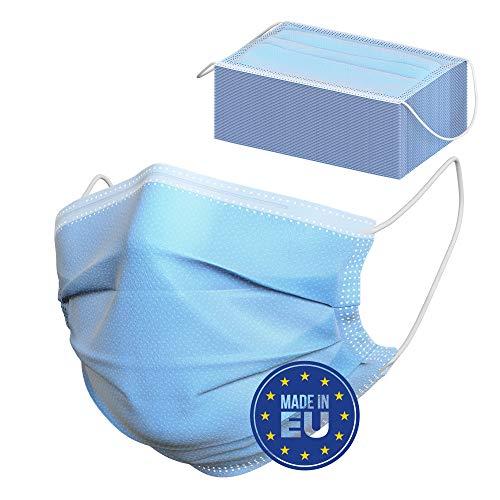 Mund und Nasenschutz (50 Stück) - Optimal für Brillenträger - Masken Mundschutz - Mundschutz Einweg - Einmalmasken - Atemschutzmaske - Maske Blau