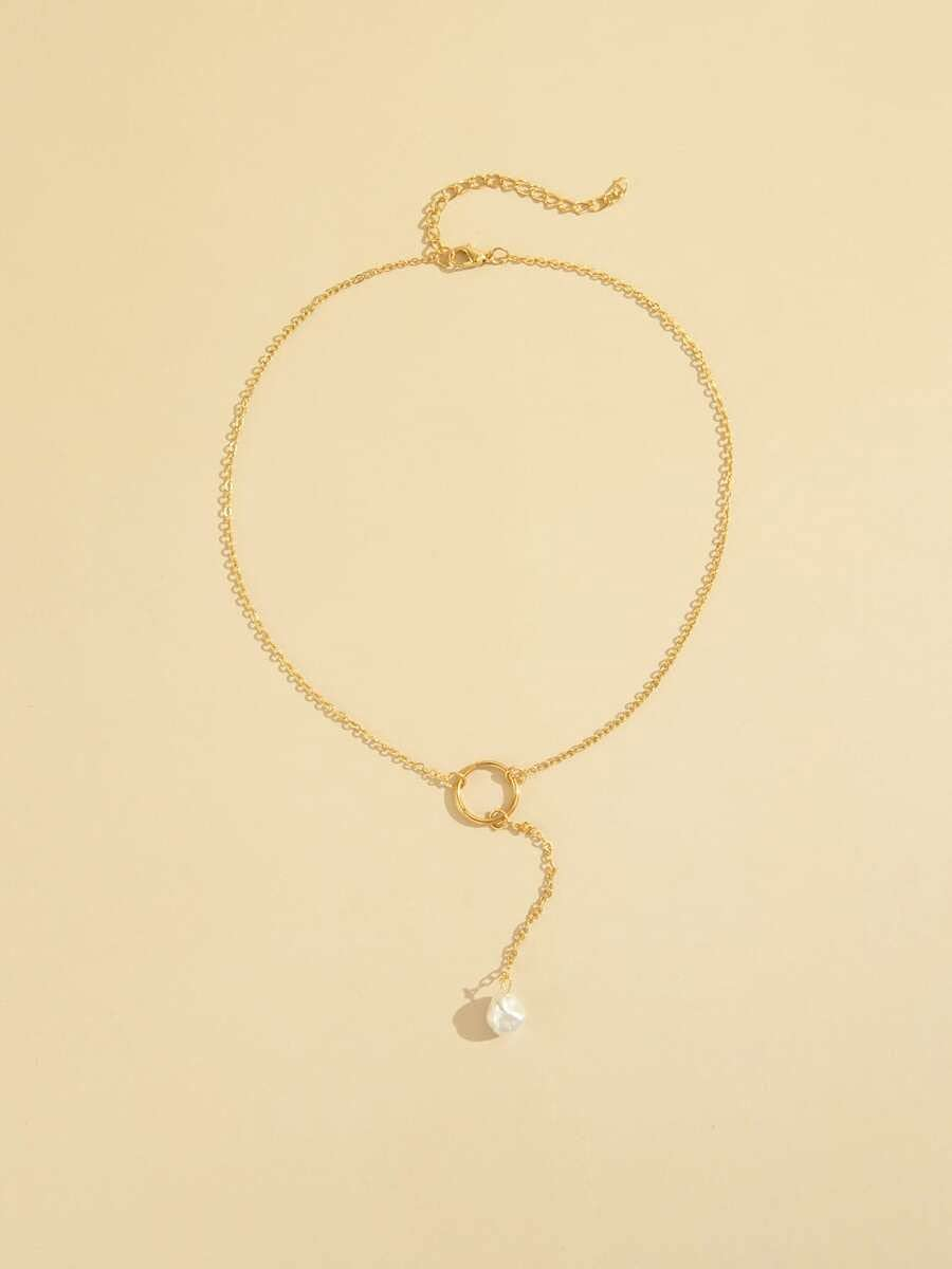 LND Gifts Necklace Pendant Faux Pearl Decor Y-Lariat Necklace (Color : Gold)