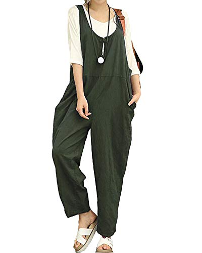 Kidsform Women's Loose Overall Dungarees Baggy Sleeveless Casual Jumpsuit Cotton Linen Straps Playsuit Pants army green Size M/UK 10