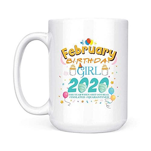 Februari flicka födelsedag karantän 2020 vit mugg