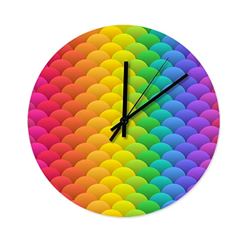 Wraill Rainbow Shed Round Wall Clock Large No Ticking Noises Wall Clock Home Wooden Wall Clock for Shower Bathroom Kitchen White 30 x 30 cm